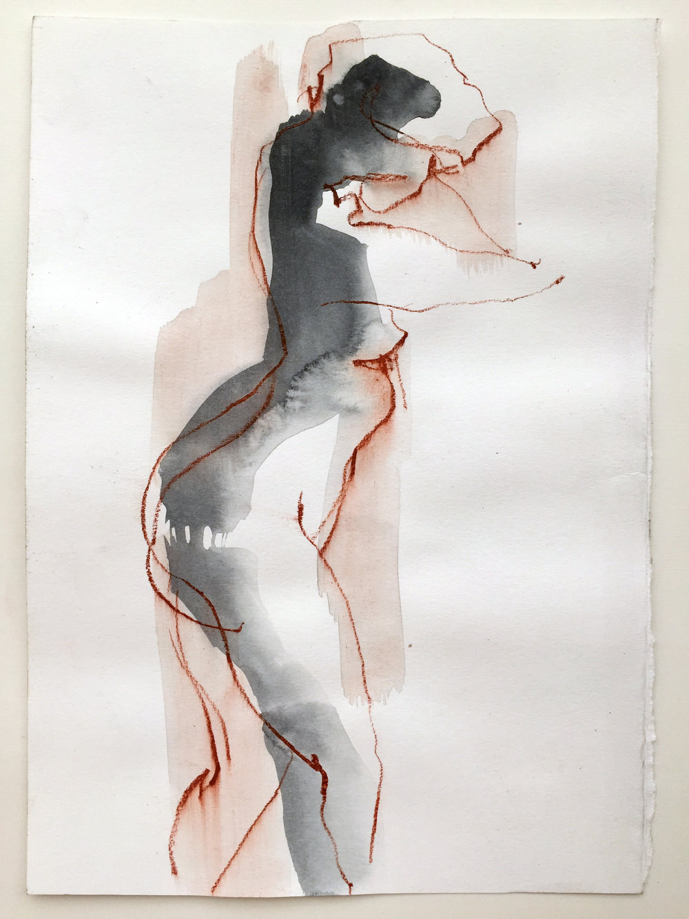 """Nude 2  2016 Watercolor, conté on paper 11"""" x 8"""""""