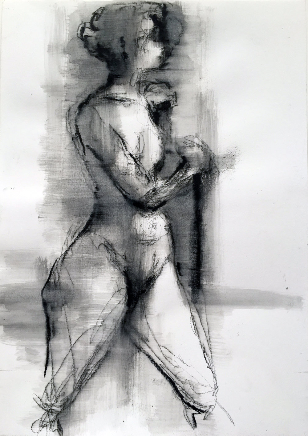 "Nude 19  2016 Watercrayon on paper 16"" x 11"""