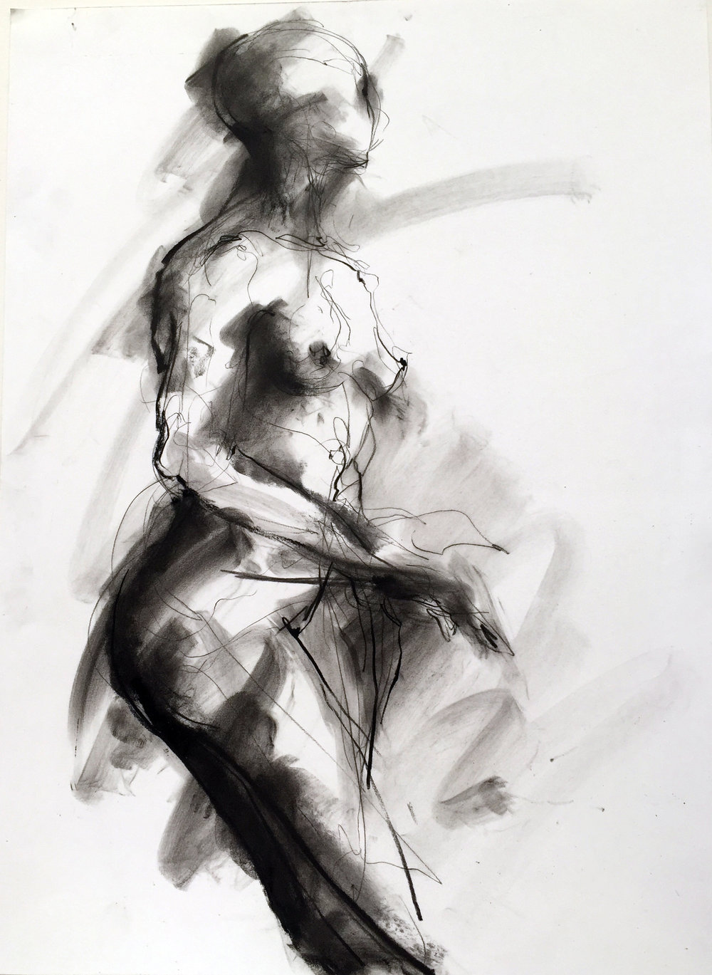 "Nude 25  2016 Charcoal on paper 18"" x 12"""
