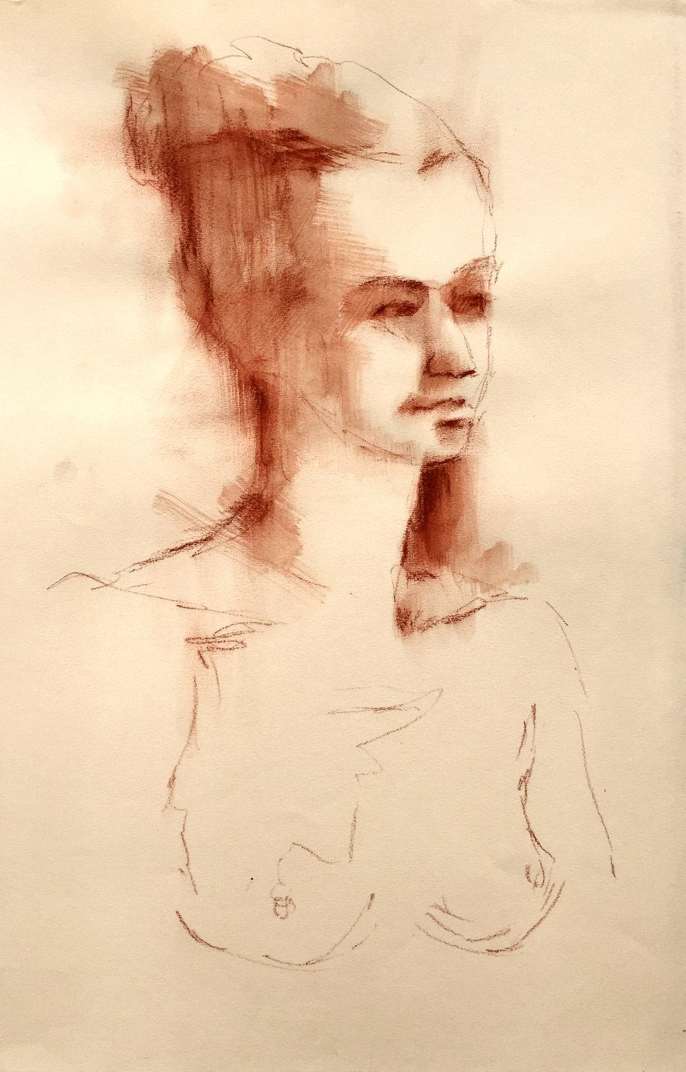 """Nude 33  2016 Conté on paper 20"""" x 14"""""""