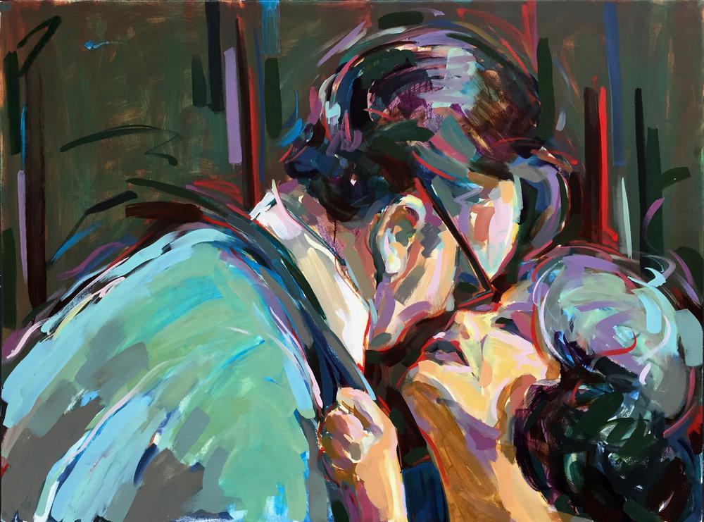 "Big Sloppy Kiss  2017 Oil on canvas 30"" x 40"""
