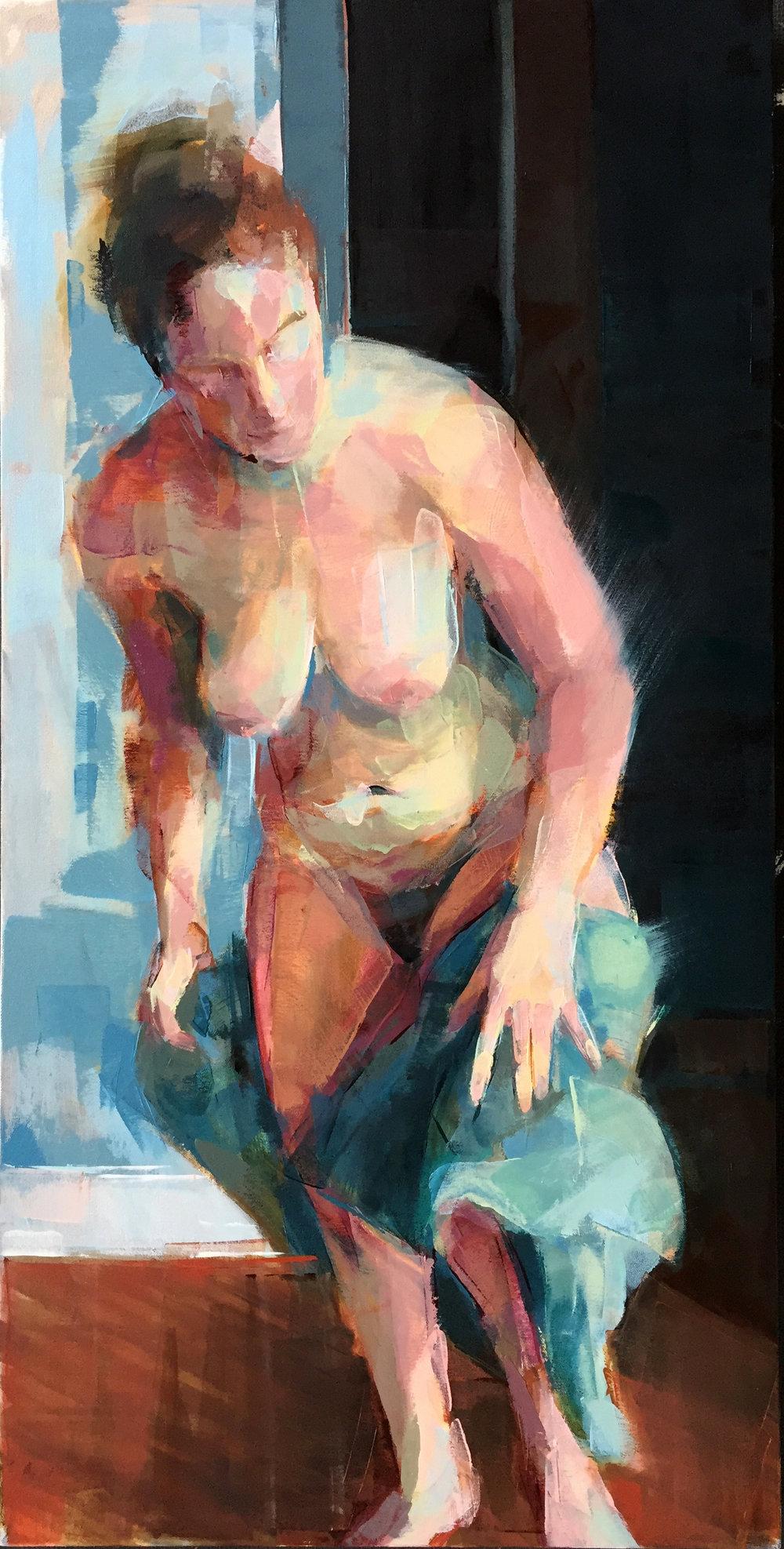 """Silent Seas 2  2018 Oil on canvas 44"""" x 22"""""""