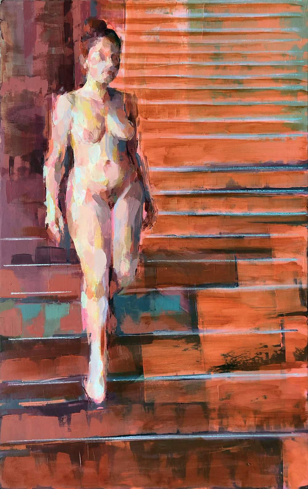 "descend the stair (orange)  2018 Oil on canvas 48"" x 30"""