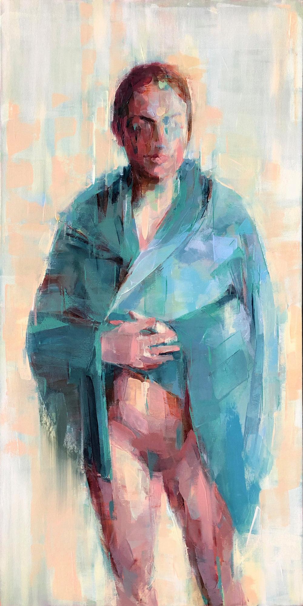 "Yellow fog 2  2018 Oil on canvas 44"" x 22"""