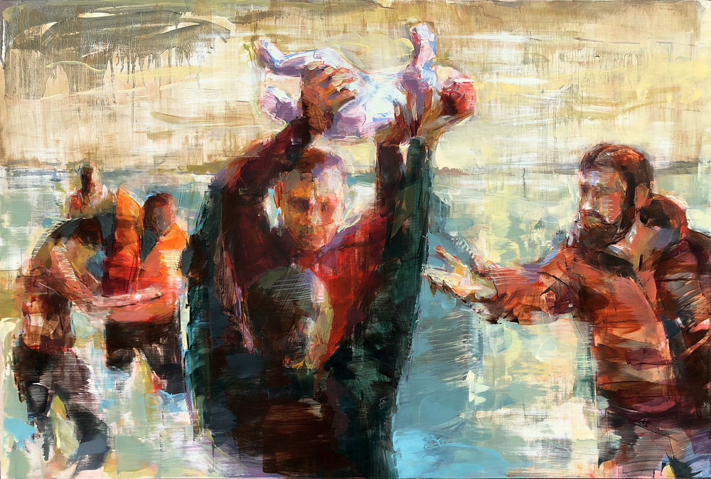 "Helping Hands  2019 Oil on panel 29"" x 40"""