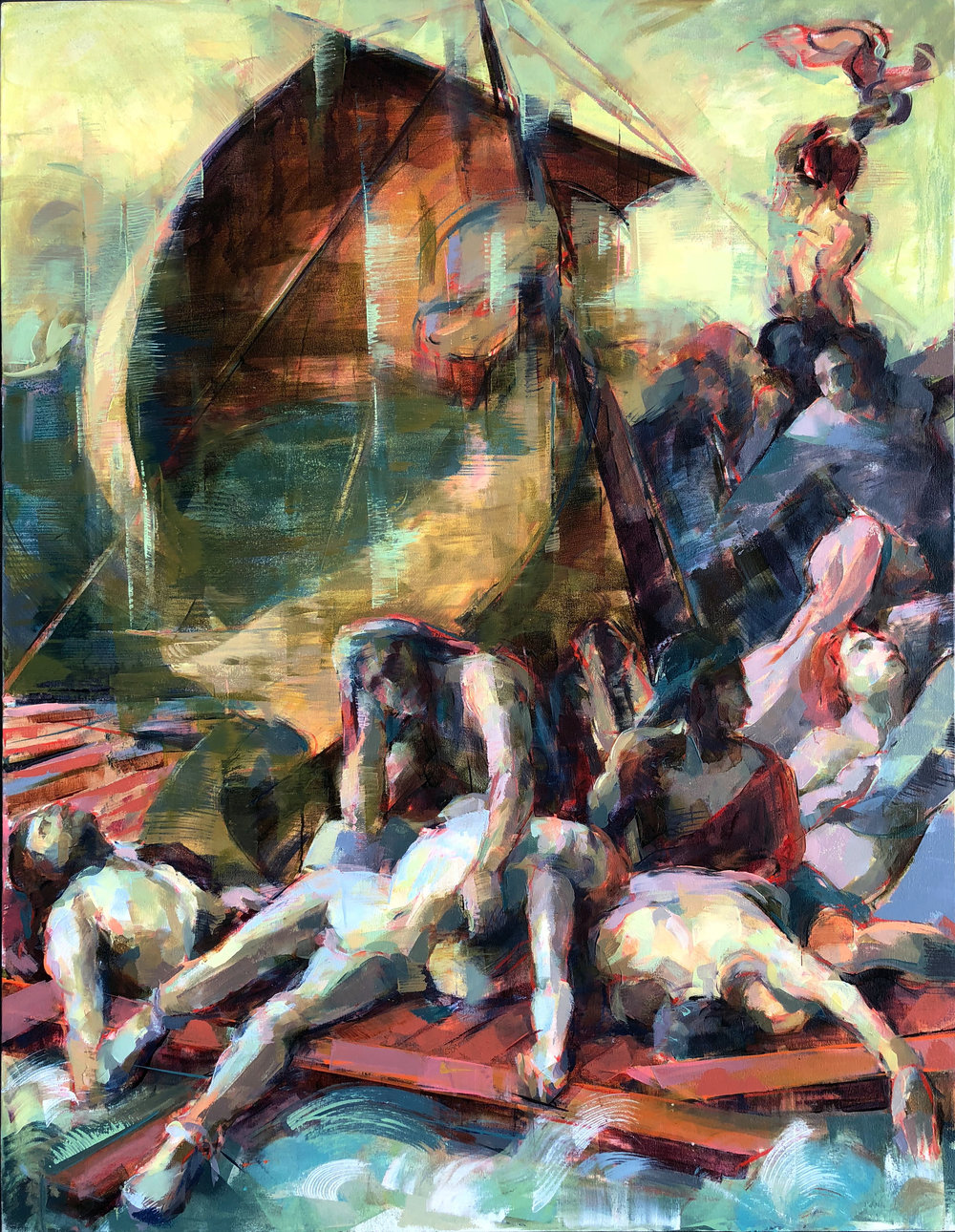 "Raft of the Medusa  2018 Oil on canvas 53"" x 41"""