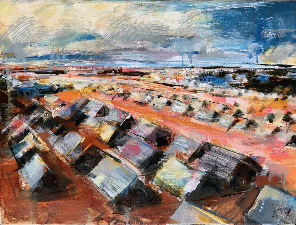 "Refugee Camp  2019 Oil on canvas 18"" x 24"""