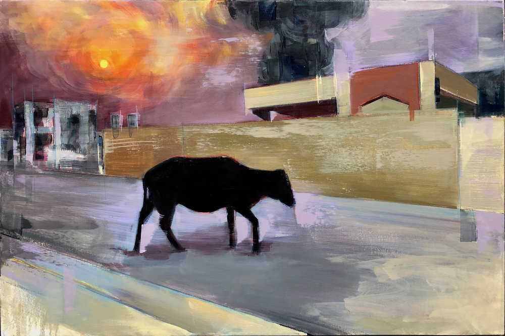 "Syrian street  2019 Oil on canvas 24"" x 36"""