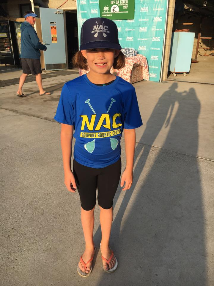 "Our little cutie is ready for her first outrigger race ""Off Da Couch""  #nac4life  🌊💦"
