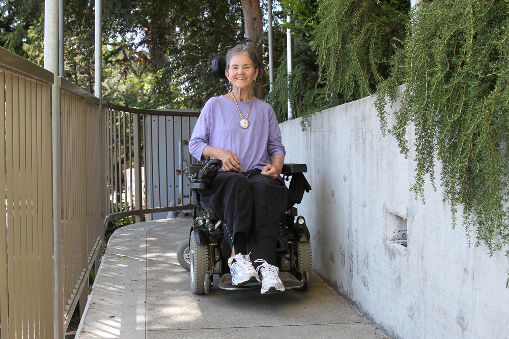 Dr. Grace Dammann outside the rehabilitation facility in San Francisco where she receives physical therapy. Dammann survived a head-on collision on the Golden Gate Bridge in 2008. The new feature-length documentary  States of Grace  by filmmakers Helen S. Cohen and Mark Lipman follows her journey as she comes to terms with her disability and finds new meaning in her radically altered life. Photo credit: Mark Lipman