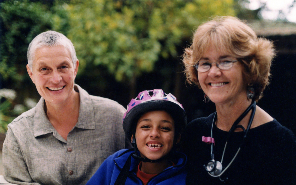 "Nancy ""Fu' Schroeder (left) and Dr. Grace Dammann (right) with their daughter, Sabrina, in 2003. The family's struggle to adjust to Dammann's severe injuries following a near-fatal head-on collision on the Golden Gate Bridge is chronicled in the new feature-length documentary  States of Grace  by filmmakers Helen S. Cohen and Mark Lipman. Photo credit: Barbara Weng"