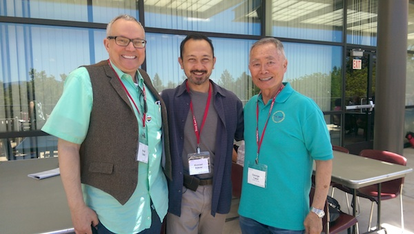 Filmmaker Konrad Aderer with Brad & George Takei before a preview screening of Resistance at Tule Lake at the 2016 Tule Lake Pilgrimage!
