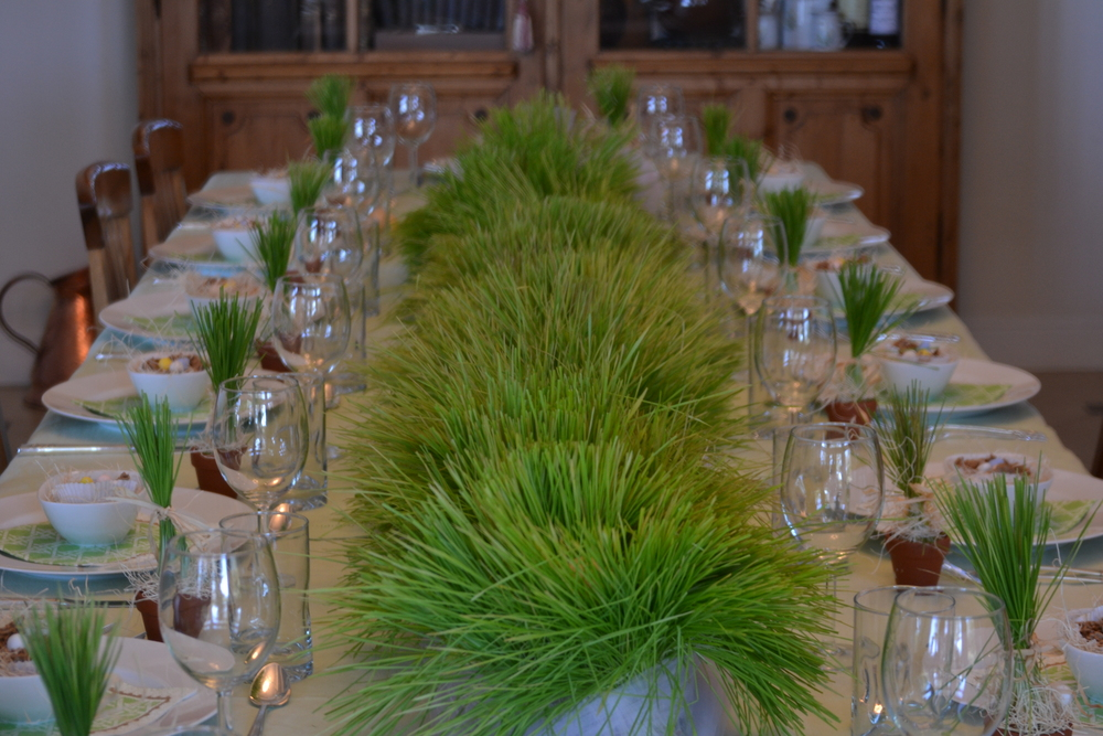 Easter Table with Spring Grass