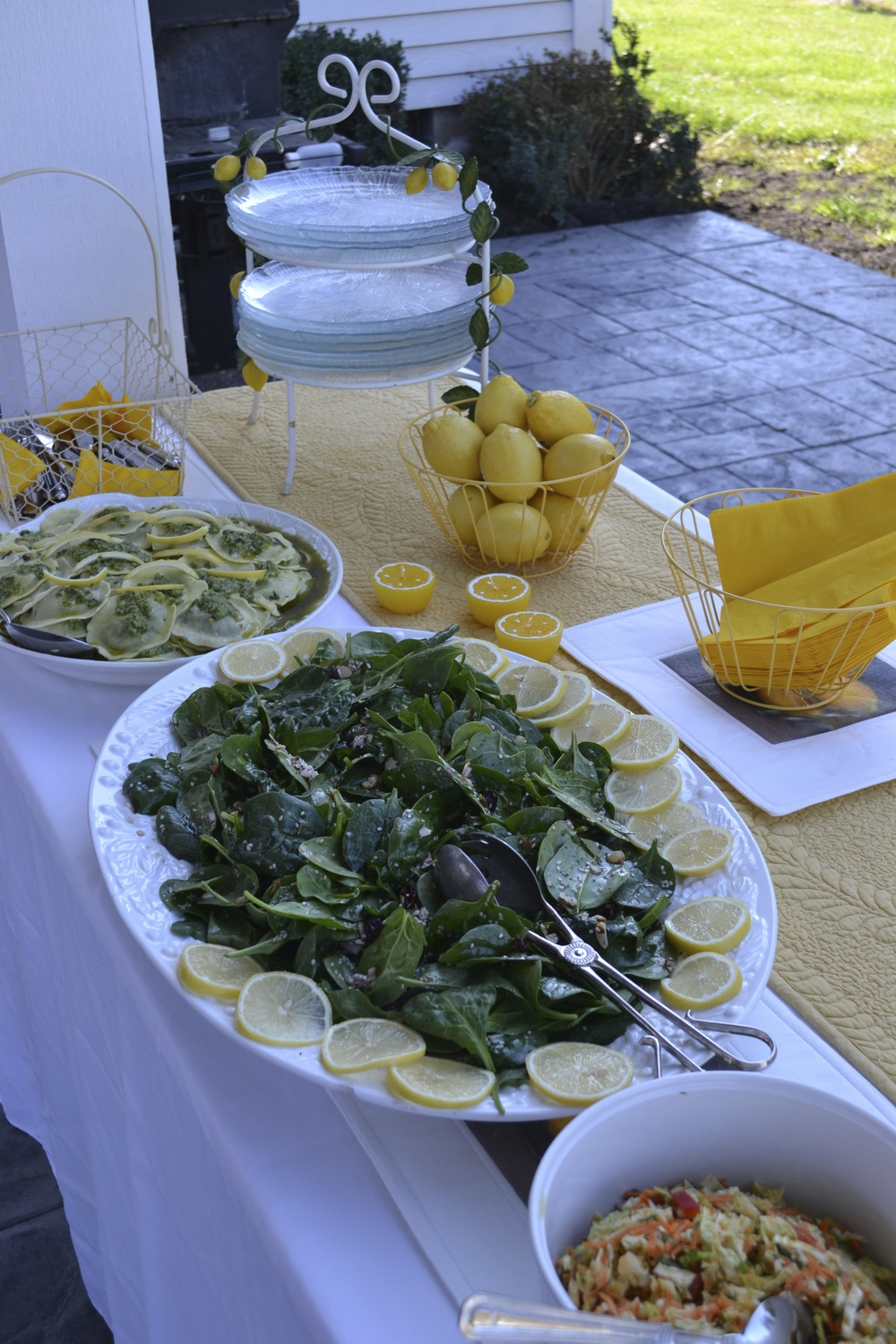 This photo is not of the Lemon Chicken meal, but gives you an idea of how to set out a lemon themed buffet dinner and how to garnish the plate.