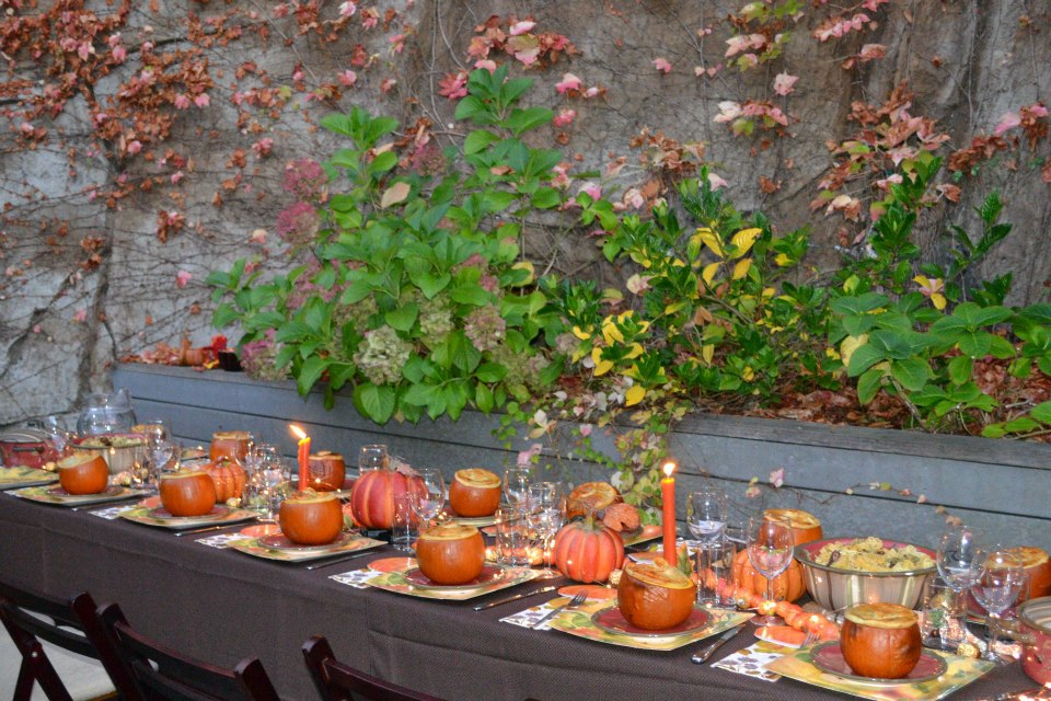 outdoor fall table set with real pumpkins