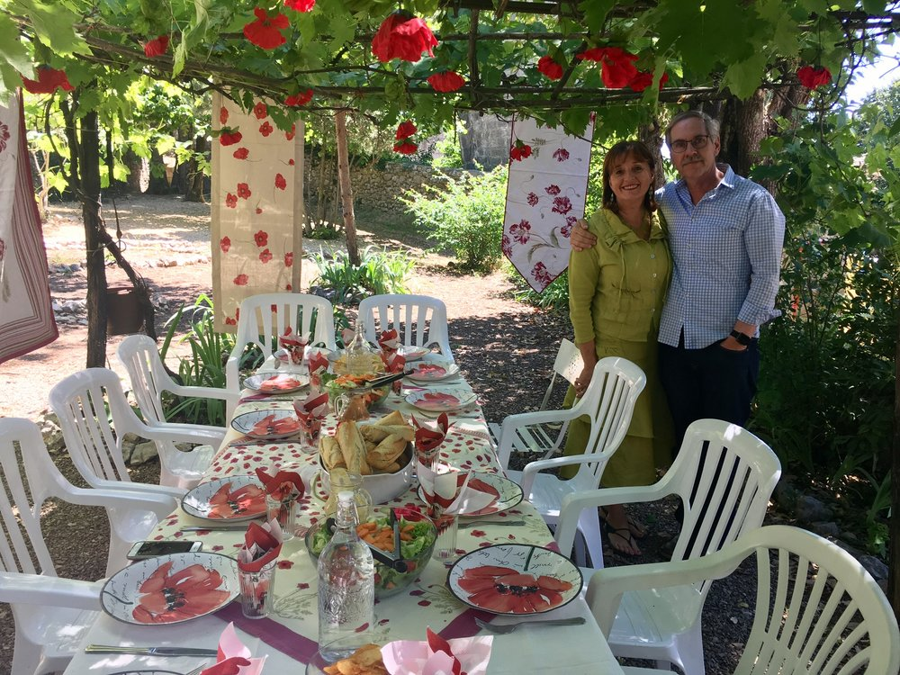 Brett and Lyn in France  at poppy table
