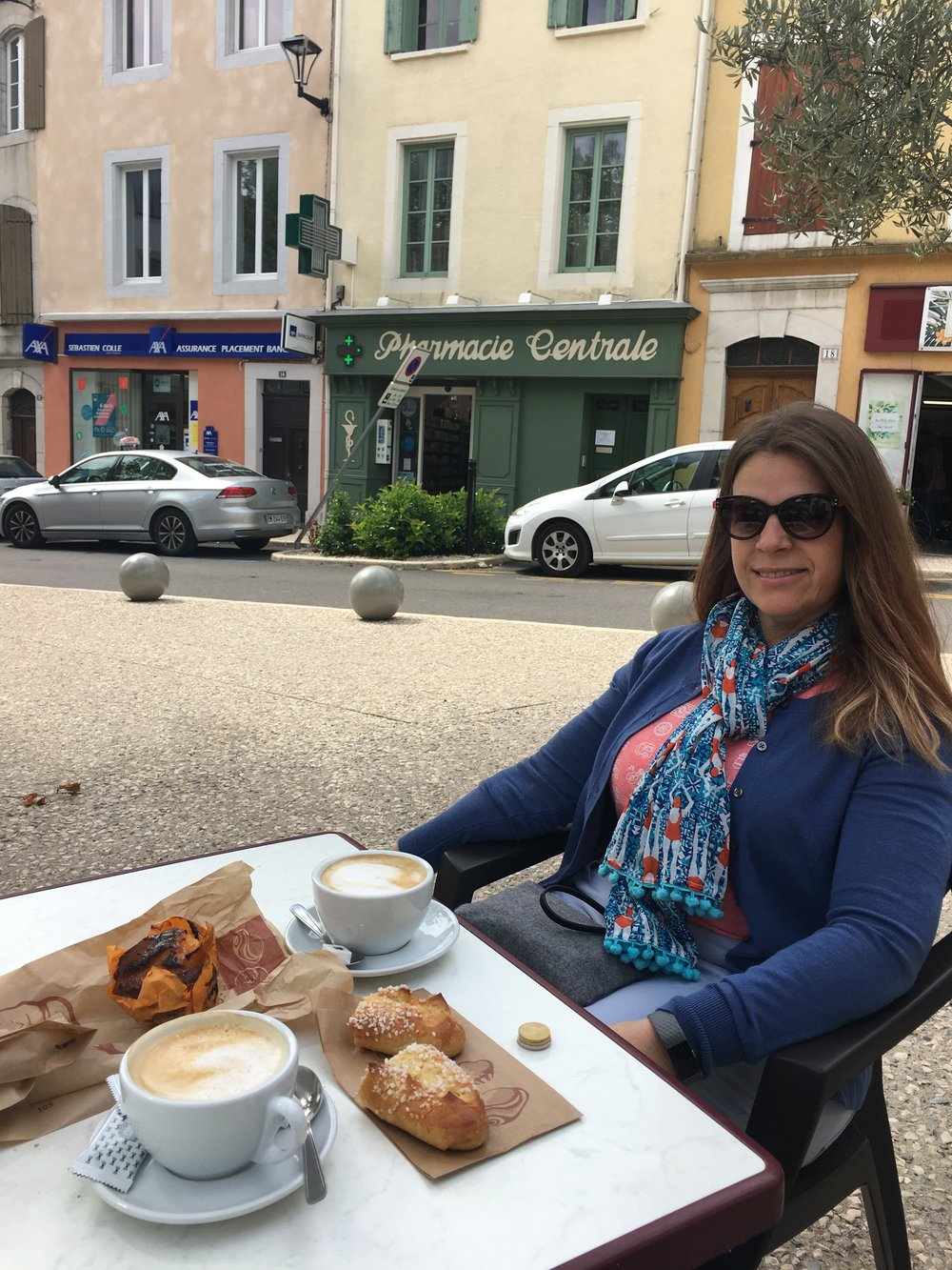 Jodene enjoys French cafe au lait