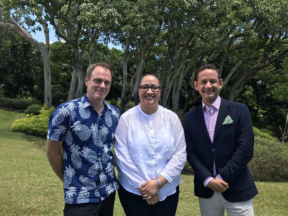 L-R: Scott Lawrimore, Nina Tonga and Jens Hoffmann in Honolulu, August 2017