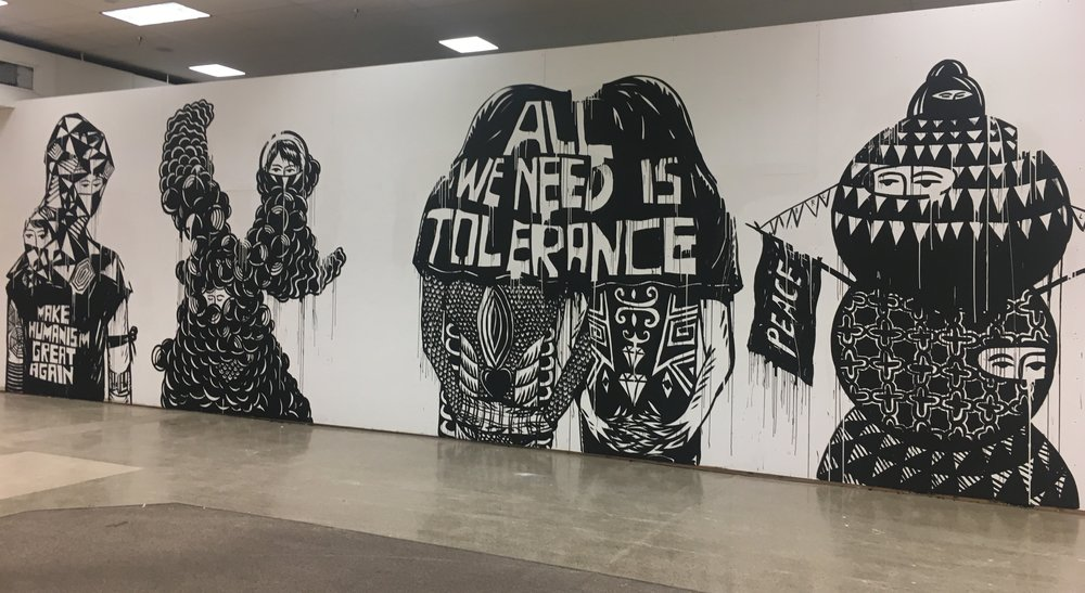 Eko Nugroho, detail of new mural in-progress for Honolulu Biennial 2017 at The Hub, 2017