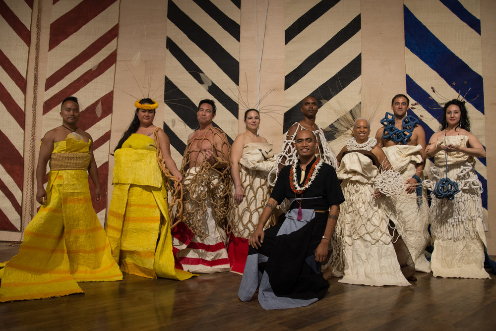 Honolulu Biennial Opening Party fashion show featuring Honolulu Biennial artist Marques Hanalei Marzan