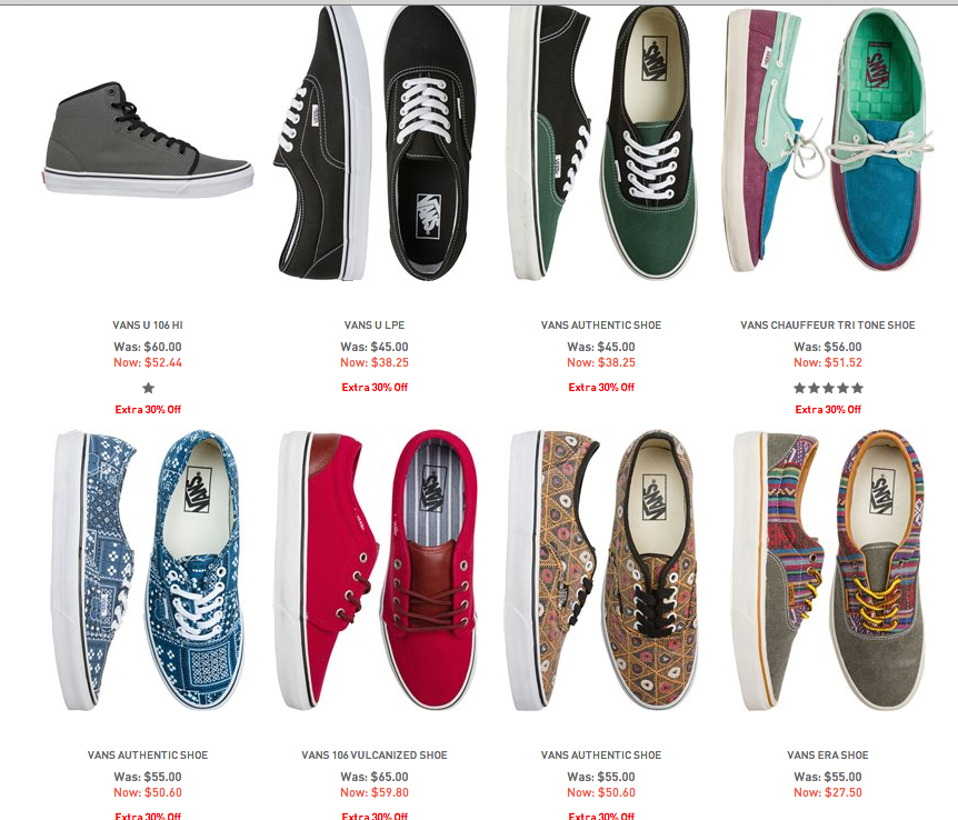 Vans sneakers coupon under retail