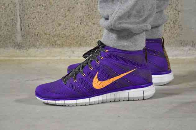 purple grey yellow flyknit chukka on feet