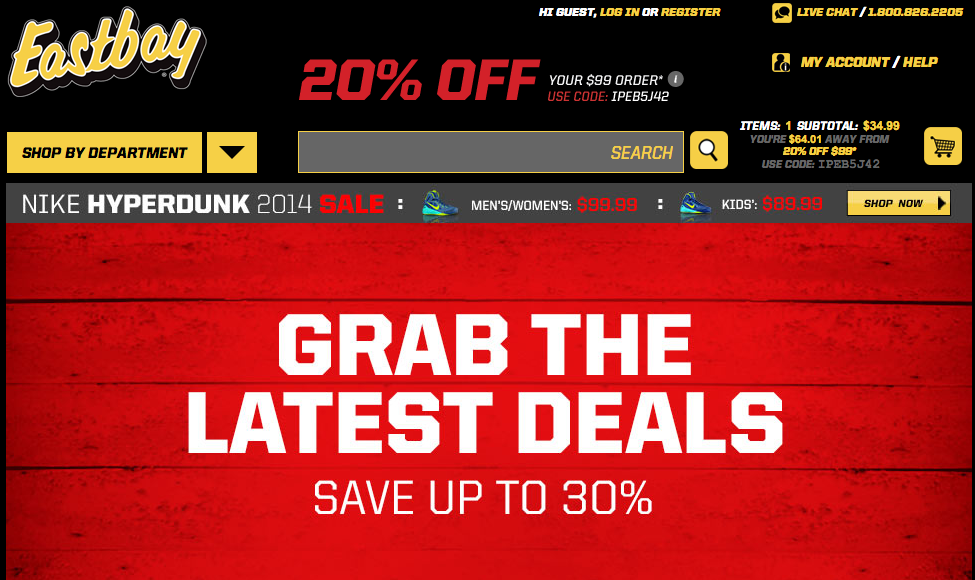 eastbay.com coupon code