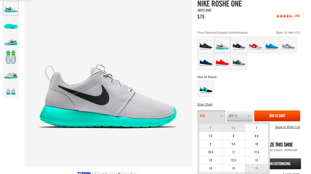 nike roshe run calypso restock fee