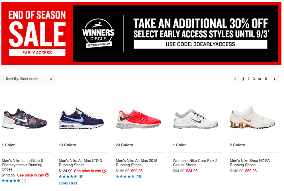 30% off sale finishline 2015 september