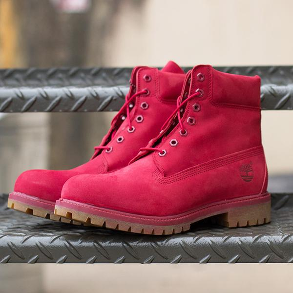 all red suede timberland 6 inch boot on foot