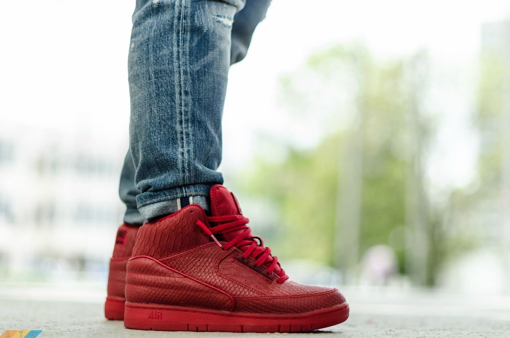 red nike air python on foot