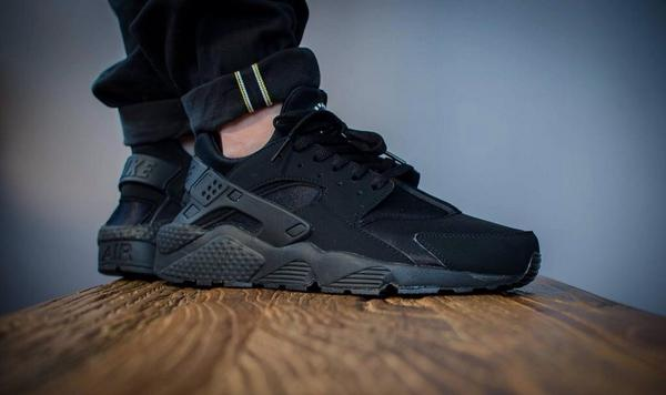 triple black huarache on feet