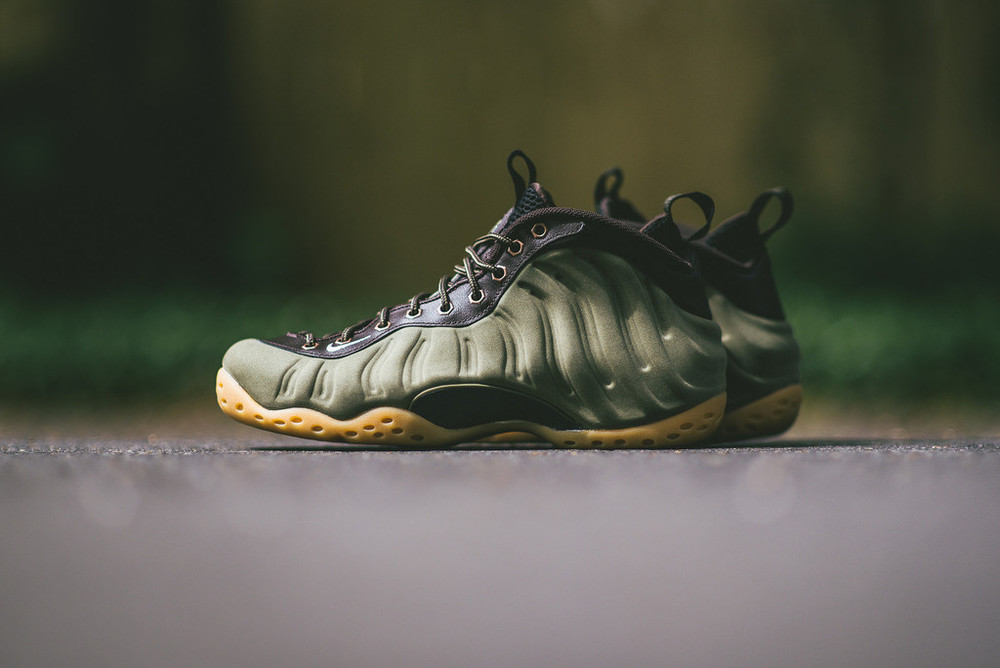 olive foamposite premium on feet on sale