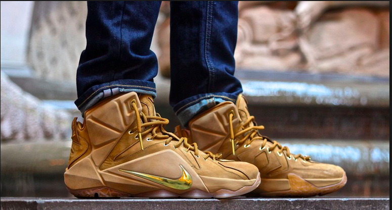 nike lebron 12 ext wheat on foot