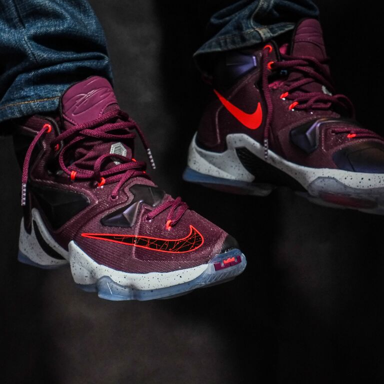 lebron 13 on foot mulberry on sale