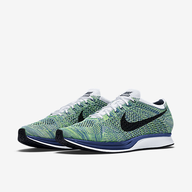 nike flyknit racer; nike flyknit racer white game royal green strike black