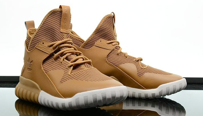 wheat mesa adidas tubular x on foot