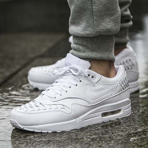 triple white woven air max 1 on foot