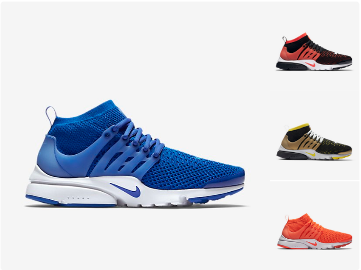 "Nike Flyknit Presto (four Colorways) retail $160, on sale for $104 with code ""BTS20"" http://goo.gl/K7c25k"
