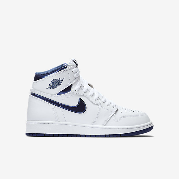 "Jordan 1 (GS) ""Metallic Blue"" is on sale for $52 with code ""FALL25"" http://goo.gl/i2MFBR"