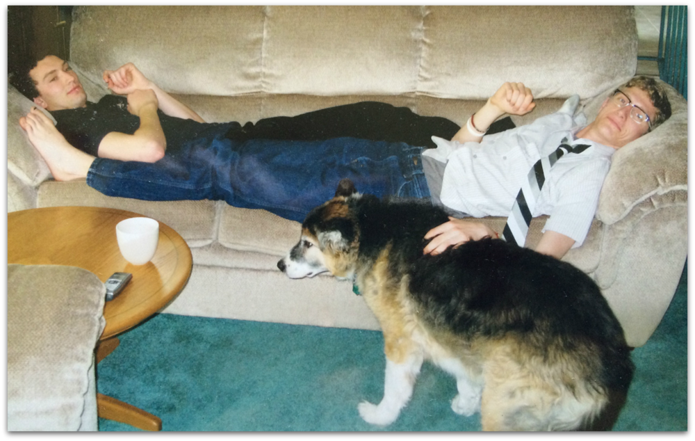 Richard (right) with his brother and their childhood dog, Buddy.
