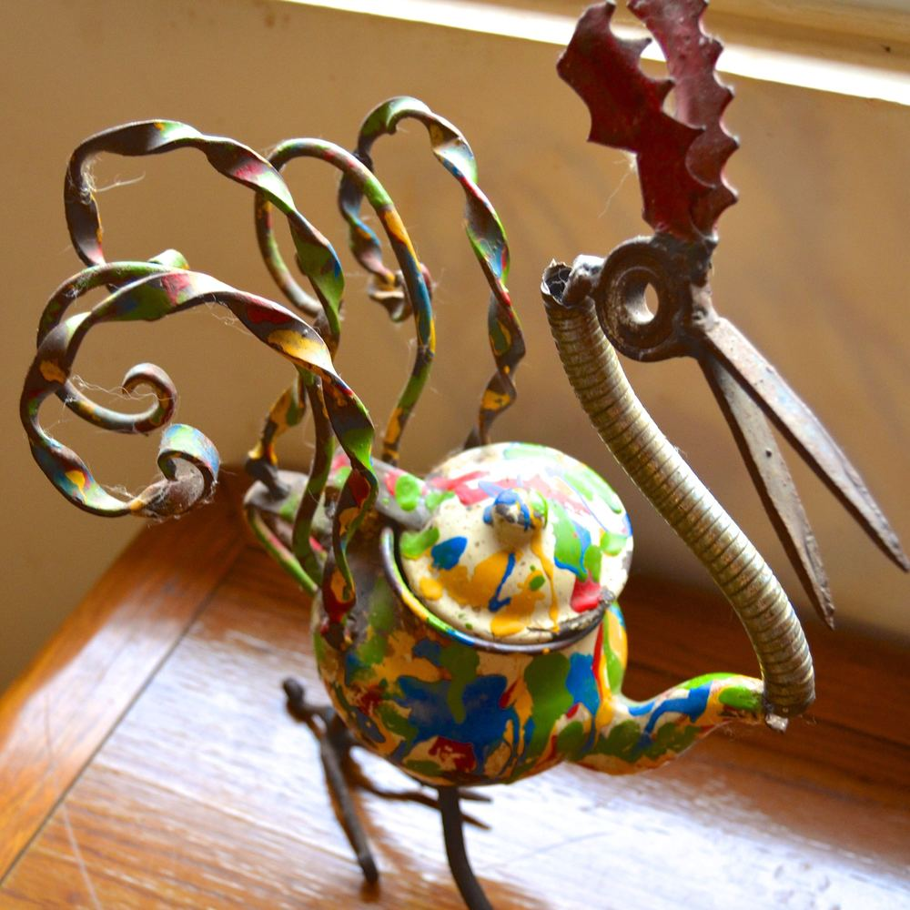 Rooster made of recycled materials