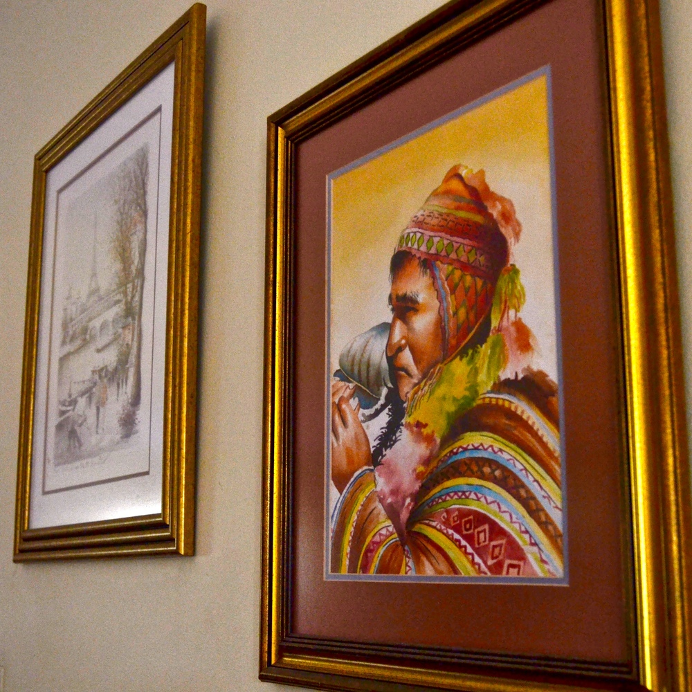 Artwork from Bolivia and France.