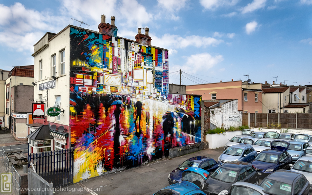 UK artist Dan Kitchener's newest piece on the Masonic Pub on North Street, Bedminster. Photo credit: Paul Green Photography