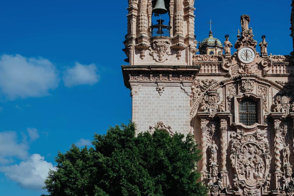 Santa Prisca's churrigueresque temple facade in Taxco, Guerrero.