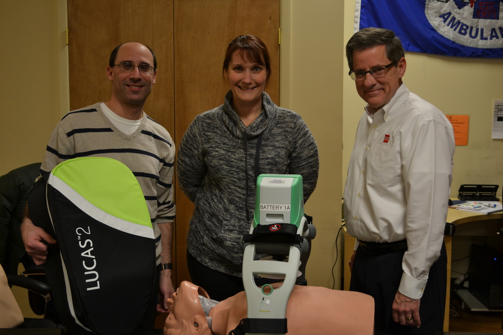 From left to right: Dave Schwantzman: Pre Hospital Sales Representative, Physio-Control, Inc.; Catherine Umrichin: Chief, Fort Lee Volunteer Ambulance Corps, Inc.; Dan Norquist: District Sales Manager, Physio-Control, Inc.