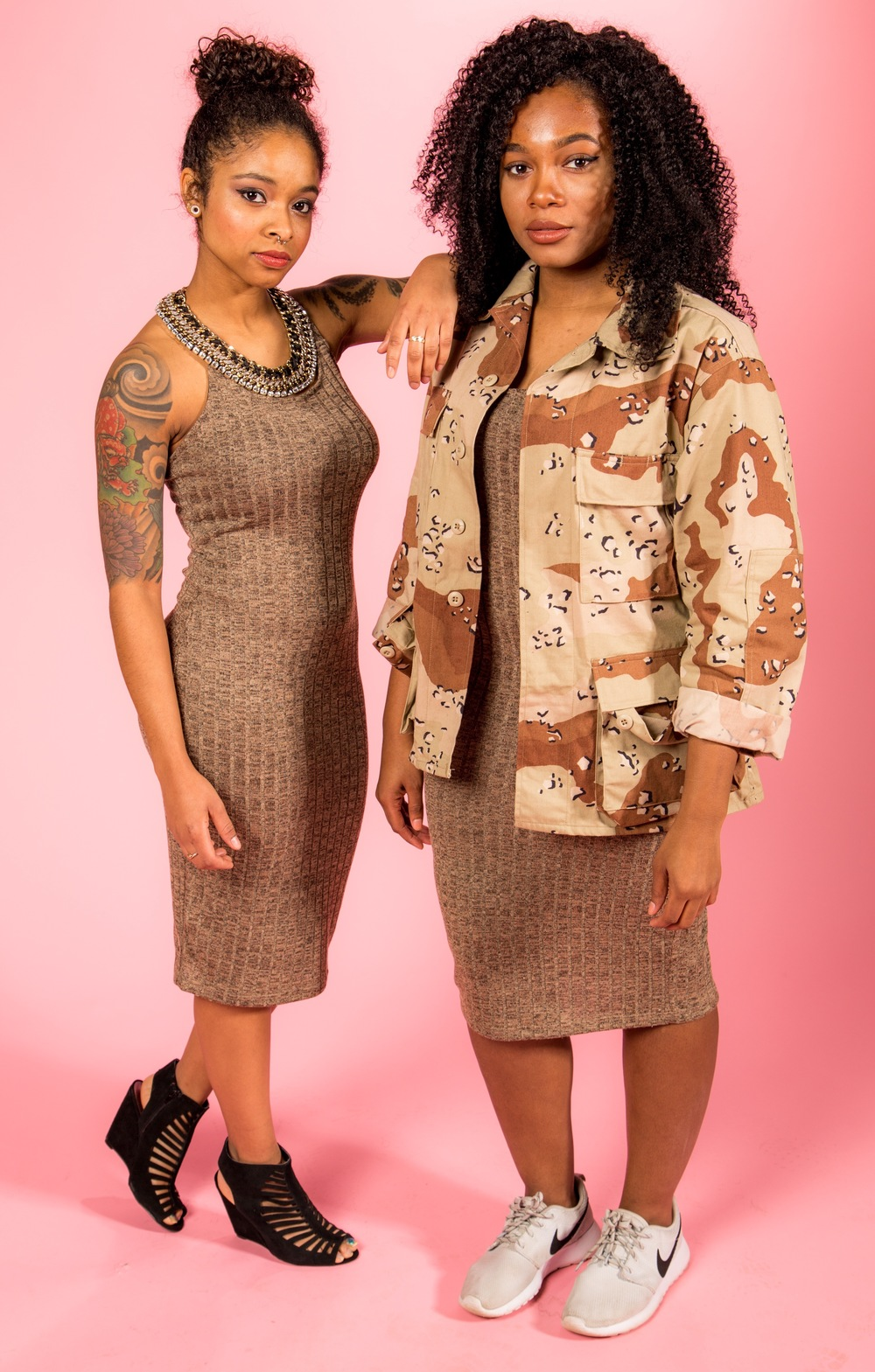 Cross Back Dress - $16.80 // Desert Camo Jacket - $34.00