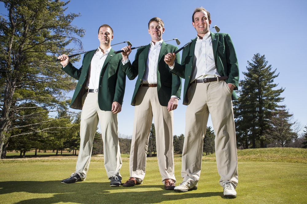 (from left to right) Will Stines, Thomas Leech and Andrew Mlynarski, all seniors on the Ohio University men's golf team, pose for a portrait at the Athens Country Club in Athens, Ohio, on April 1, 2015.