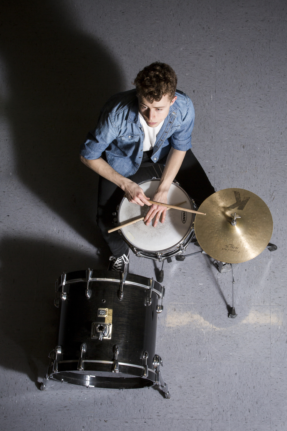 Seth Alexander with his drum set on Feb. 9, 2015.
