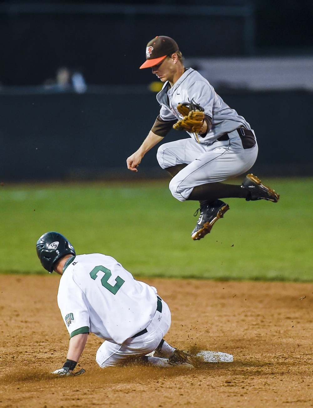 Ohio infielder Ty Black slides in safe while stealing second base during the Ohio vs. Bowling Green game at Bob Wren Stadium in Athens, Ohio on April 10, 2015. Ohio lost 4-2.